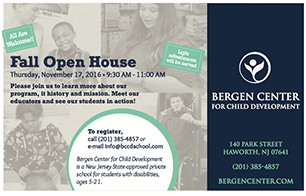 Bergen Center Open House invitation postcard